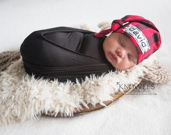 buffalo plaid baby hat - personalized newborn hat - trendy coming home outfit - photo prop - baby shower gift - baby personalized - name hat