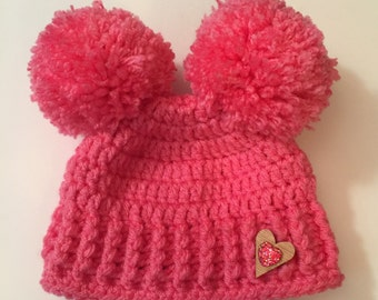 Adorable Pom Pom Beanie, Hat, baby, kids, adult, ribbed, textured, warm - Any Size