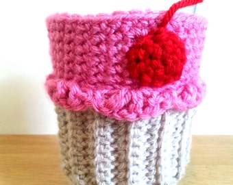 Pink Cupcake Coffee Cozy, Crochet Cupcake Cup Sleeve, Bottle Cozy or Can Cozy, Java Jacket