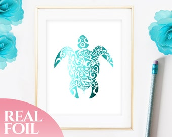 Turtle Teal Foil Print Real, Boy Nursery Decor, Home Decor, Nursery Print, Wall Art, Turtle Decor, Tribal Decor, Teal Decor, 5x7, 8x10