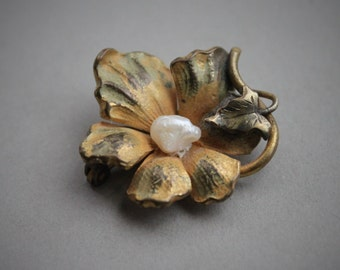 Art Nouveau Enamel Flower Brooch with Natural Baroque Pearl Center
