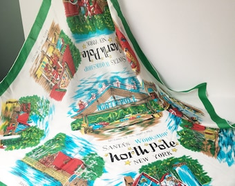North Pole Scarf Souvenir Scarf 1960s Scarf Tourist Scarf Collectible scarf silk Santas Workshop scarf