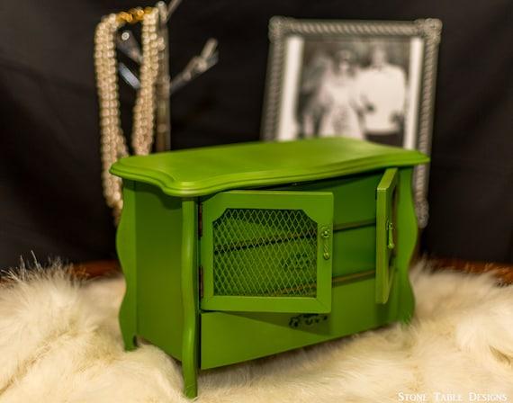 Antique Jewelry Box Music Box Upcycled Jewelry Organizer