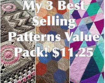 3 BEST SELLING crochet blanket patterns/CypressTextiles/discount 9USD - Added value sale - instant download/unique modern tutorial geometric