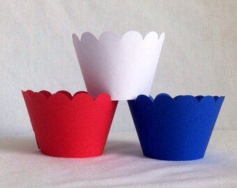 12 Count red white and blue scallop cupcake wrappers USA flag red white and blue cupcake wrappers Captain America Birthday