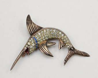 Large 1940s Sterling Silver Gold Vermeil Crystal Swordfish Figural Brooch Pin