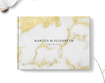 Marble guest book, Landscape, Wedding guest book, Gold Marble gb0119