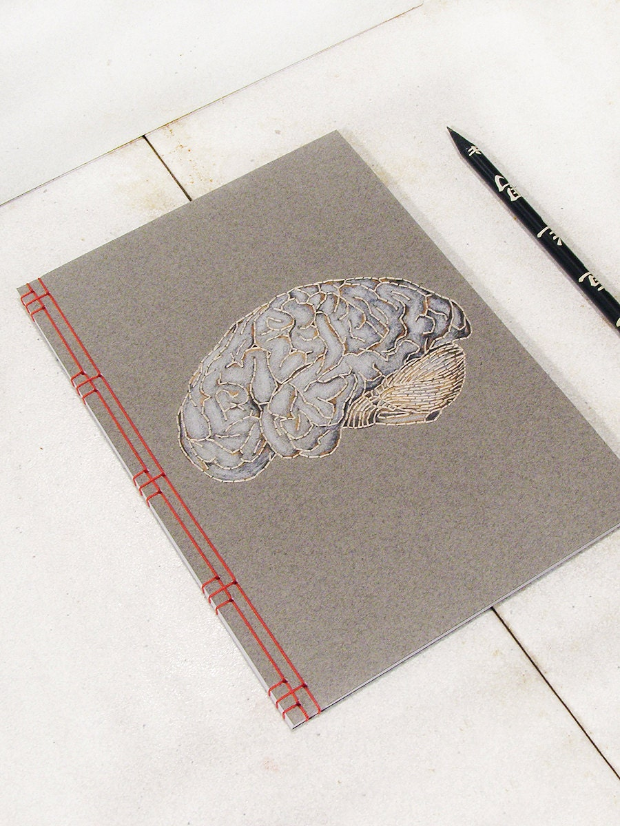 Brain Anatomy Journal. Embroidered Notebook. Anatomical Brain