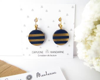 Earrings - Navy Blue Gold Leather - circles {wife jewelry buckles of ears romantic gift leather}