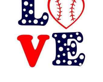 Love Baseball SVG File, Quote Cut File, Silhouette File, Cricut File, Vinyl Cut File, Stencil