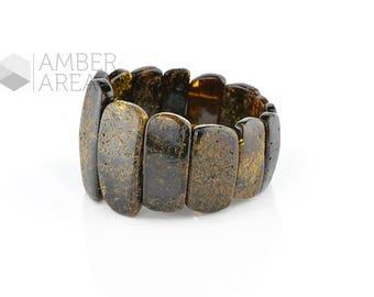 Black Gray Amber Bracelet // 1823