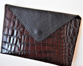Leather coin purse or card case, brown and black coin purse, black leather card case.