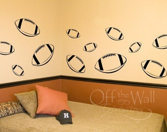 Football Wall Decals, Set of 12 football decals, sport stickers, boy's bedroom decal