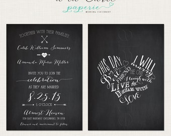 This day I will marry my best friend Chalkboard Inspired Wedding Invitation Card  DEPOSIT Payment