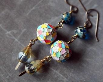 Unlisted - Boho Rustic Earrings - Faceted Polymer Clay Earrings - Royal Blue Earrings - Bead Soup Jewelry