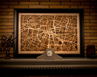 "38 Wooden City Maps, Large 24x36"" Cutouts of City Streets in: New York, Nashville, Atlanta, Boston, Seattle, Chicago, Paris, & More!"