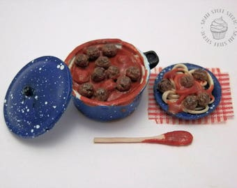 Dollhouse Miniature Pot of Meatballs with a Plate of Spaghetti and Wooden Spoon