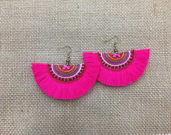 Handmade Women Jewelry Boho Tassel Earring With Embroidered Fabric