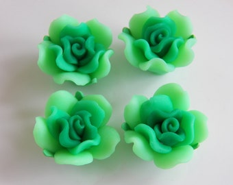 21mm Green Handmade Polymer Clay Flower Beads, 4 PC