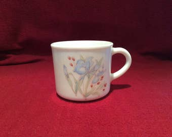 Pyrex Iris Blue Iris Coffee Mugs circa 1985