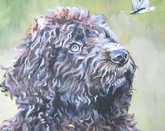 "BARBET dog art portrait canvas PRINT of LAShepard painting 12x12"""