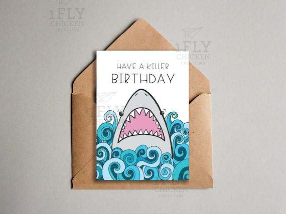 Shark birthday card blue ocean theme printable funny shark birthday card blue ocean theme printable funny birthday card for kids shark week instant download funny card for shark lover bookmarktalkfo Gallery