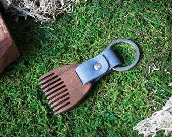 Wooden beard comb Walnut wood. Mini Beard Comb Keychain. Navy leather Keyring. Personalized comb. Handsome. Boyfriend, groomsman gift.