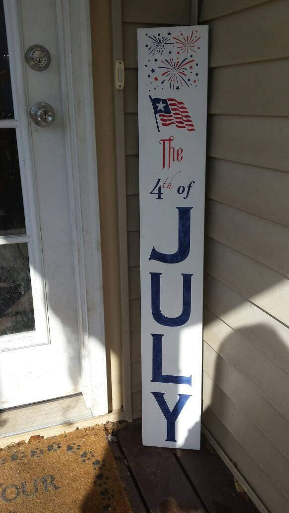 4th Of July Porch Sign Fireworks Reversible Vertical