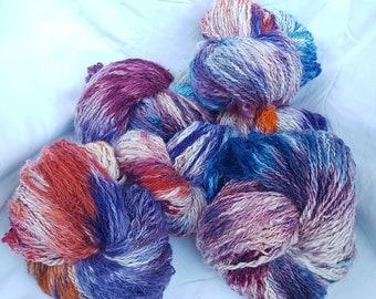 "Alpaca Art Yarn - ""Circus, circus"" - rainbow coloured, hand-spun, hand-dyed, knitting, weaving, crochet yarn/wool"
