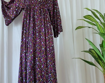 1970's Maxi Dress with Bell Sleeves