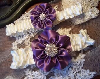 Amethyst Wedding Garter Set,  Purple Bridal Garter Set, Wild Rose Garter - Five Petal Rose Flower