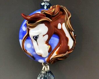 Painted Clouds handmade lampwork horse glass pendant sculpture :) SRA whoa