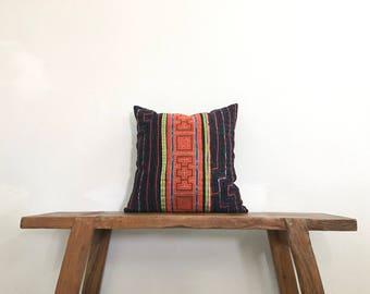 "Vintage Thai 16"" by 16"" Cushion Cover Hmong Hill Tribe Ethnic Batik Thai Cross Stitch Cotton"