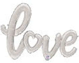 "Silver ""LOVE"" Balloon Script Banner Balloon Gold String included Wedding Bridal Engagement Anniversary Air Fill only"