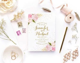 Floral Wedding Invitation Romantic Floral Gold Sparkles Floral Wedding Floral Invitation Wedding Invite Printable Invitation #CL111