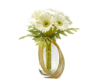 Stemple's White Gerber Daisy Bunch - Includes 7 stems of Real Touch Artificial White Gerber Daisies
