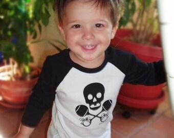Punk Baby, Skull & Rattles Logo, hand screen printed, black/white baseball tee for mini pirates, punks, or just plain precious toddlers