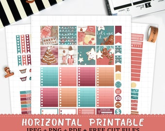 Horizontal christmas printable stickers for Erin Condren Life Planner TM cut files red green christmas gingerbread cookies baking weekly kit