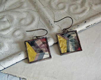 Vintage Quilt Earrings, Handstitched Paper Pieced, Rescued Quilt Top