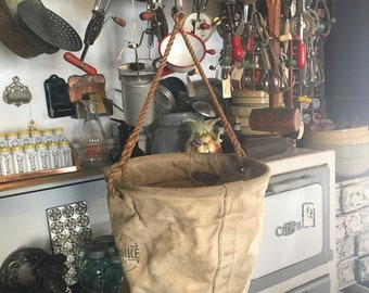 Vintage Canvas Lineman's Tool Bag, Canvas and Leather Electrical Tool Bag, Vintage Stowkit