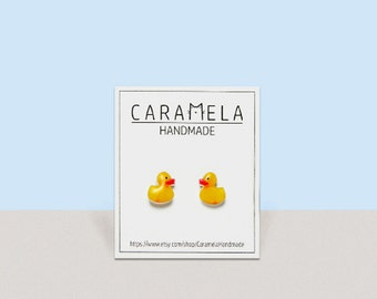Yellow Duck Earrings Gift For Her