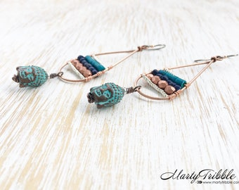 Buddha Earrings, Long Earrings, Buddhist Jewelry, Blue Boho Earrings, Hypoallergenic Earrings, Niobium Earrings, Copper Earrings, Boho Chic