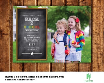 Back to School Mini Session Template   Back to School Mini Session Marketing Board   Photoshop and Elements Template   Instant Download