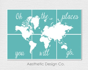 World map pdf poster etsy pdf download oh the places you will go world map poster gumiabroncs Image collections