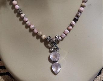 Sterling silver rose quartz pendant with Rhodochrosite necklace