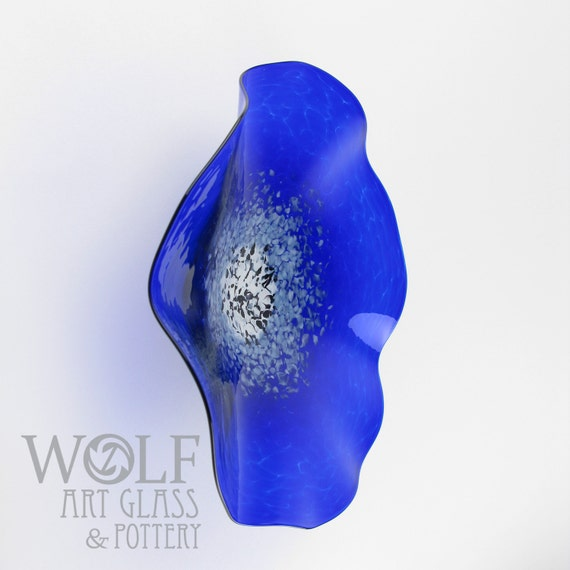 Made to order glass wall art sapphire blue poppy flower wall mightylinksfo