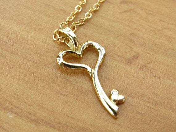Items similar to gold heart key pendant necklace gold chain items similar to gold heart key pendant necklace gold chain necklace gold pendant necklace on etsy mozeypictures Choice Image