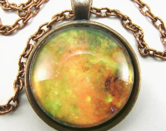 NORTH AMERICAN NEBULA Necklace -- Celestial Impressionist art, Astronomy pendant, Science Technology art,  Physics