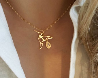 Delicate Petite Origami Bird Necklace, Bird necklaces,initial leaf necklace,Layering necklace,unique Necklace ,Bridesmaid Gift, valued gift