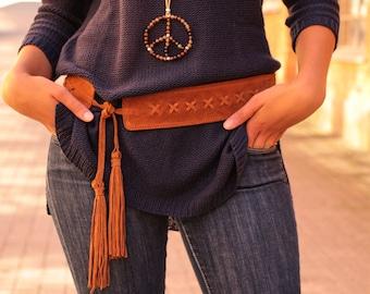 Boho belt, tie belt, tassel belt, suede belt, hip belt, hippie belt, brown suede belt, gypsy belt, leather belt women